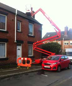 Roof access using a cherry picker