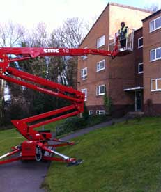 One of our workmen in a cherry picker